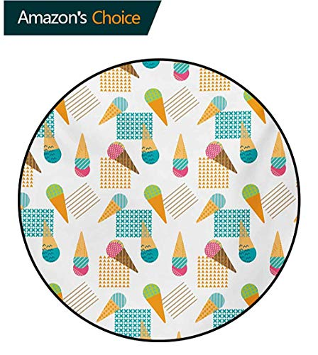 (RUGSMAT Ice Cream Round Kids Rugs,Pattern in Scandinavian Style Cones with Colorful Scoops and Geometric Design Non Skid Nursery Kids Area Rug for Bedroom Machine Washable,Round-39 Inch)