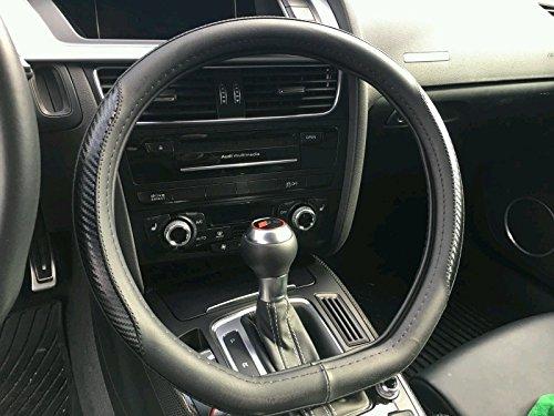 ... AUDI Sport Design FLAT BOTTOM Exclusive Product Premium Leather and Carbon Fiber CF Weave BLACK Color Custom Automotive Steering Wheel Cover: Automotive