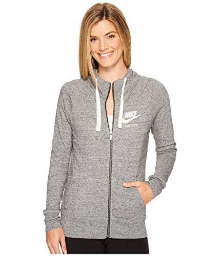 Nike Womens Gym Vintage Full Zip Hooded Sweatshirt Carbon Heather/Sail 883729-091 Size Small