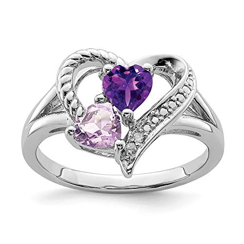 925 Sterling Silver Purple Amethyst Pink Quartz Diamond Band Ring Size 7.00 S/love Gemstone Fine Jewelry Gifts For Women For Her