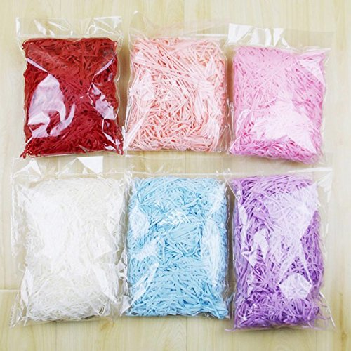 6 Colors Easter Grass Bulk Multicolored Shredded Paper Easter Basket Grass Filler/ Stuffers Easter Party Decor Gift Box Filler (hot pink)