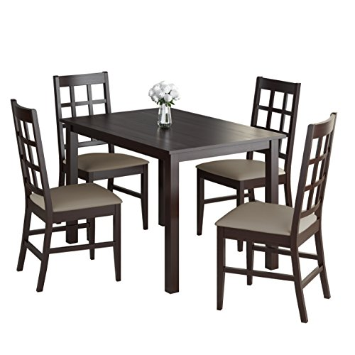 CorLiving DRG-595-Z4 Atwood 5 Piece Dining Set,Rich Cappuccino Stained Finish with Taupe Stone Leatherette Seats