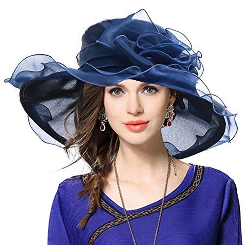 Navy Derby Hat (Kentucky Derby Hat Wide Brim Flounce Cocktail Tea Party Bridal Dress Church Hat)
