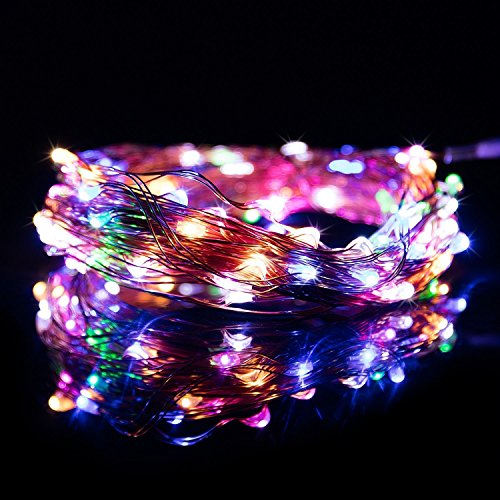 RGB Copper String Lights - 33ft 100 LEDs - Copper Wire MultiColor Decor Rope Light- DC Powered