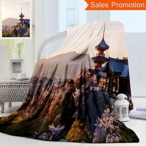 Kyo Plush - Unique Double Sides 3D Print Flannel Blanket Sunset at Kiyomizu Dera Temple and Cherry Blossom Season Sakura On Spring Time in Kyo Cozy Plush Supersoft Blankets for Couch Bed, Throw Blanket 50