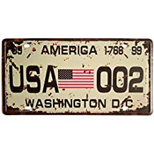 ERLOOD American Flag Washington D.C. 002 Retro Vintage Auto License Plate Tin Sign Embossed Tag Size Home Pub Bar Decor 6 X 12