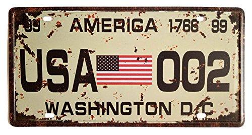 - ERLOOD American Flag Washington D.C. 002 Retro Vintage Auto License Plate Tin Sign Embossed Tag Size Home Pub Bar Decor 6 X 12
