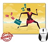 "Luxlady Natural Rubber Mouse Pad/Mat with Stitched Edges 9.8"" x 7.9"" Great illustration of Retro Styled Businessman on a fleet of paper Airplanes IMAGE 36227707"