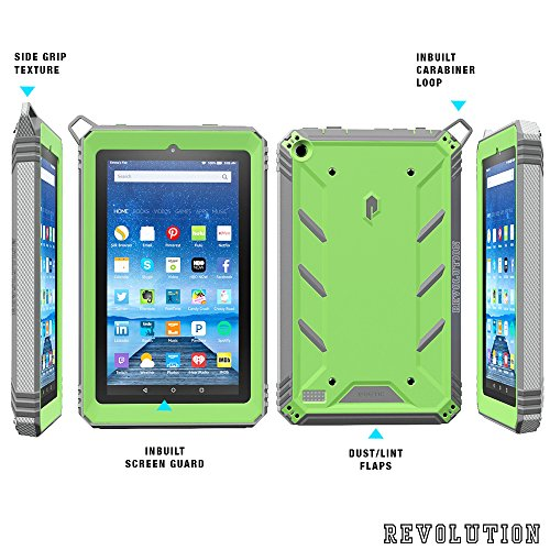 Fire 7 2015 Case, POETIC Revolution [Premium Rugged][Shock Absorption & Dust Resistant] Complete Protection Hybrid Case w/ Built-In Screen Protector for Amazon Fire 7 5th Gen (2015) Green/Gray