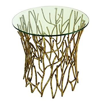 Italian Gold Iron Round Twig Accent Side Table With Glass Top  Dr Livingstone I Presume Furniture