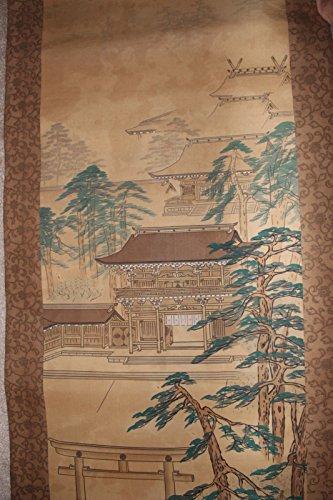 """Meiji Jingu Shrine"" Japanese Antique Painting on Silk Scroll"
