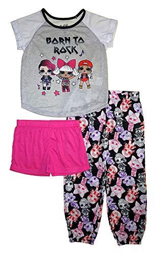 L.O.L. Surprise! Girls Pajama Set- 3-Piece Short Pant and Top Pajama Set (Multicolor, 6)
