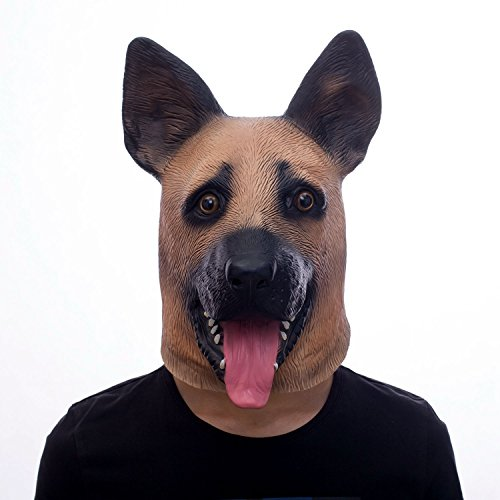 (molezu Super Bowl Eagles Underdog Latex Mask Rubber German Shepherd Dog Animal Head Mask, Police Dog Latex Mask, Halloween Novelty Costume Party)
