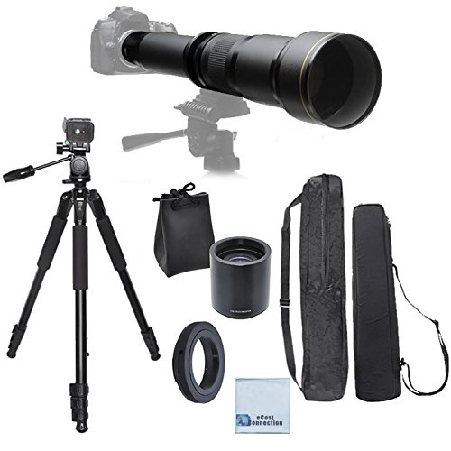 Elite Series 650-1300MM F/8-F/16 Super TelePhoto Zoom Lens with Manual Focus + Elite Series 2.0 Teleconverter + T-Mount for Digital SLR for Canon 1D, 5D. 5D MARK II, 5D MARK III, 6D, 7D, 10D, 20D, 30D, 40D, 50D, 60D, 70D DSLR Cameras & Much More + 80-Inch Elite Professional Heavy Duty Camera Tripod With carrying bag