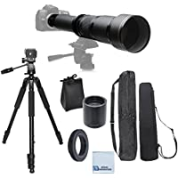 Elite Series 650-1300MM F/8-F/16 Super TelePhoto Zoom Lens with Manual Focus + Elite Series 2.0 Teleconverter + T-Mount for Digital SLR for Nikon D90, D300, D300S, D600, D610, D700, D7000, D7100, D1H, D2H, D2X, D3, D3S, D3X, D4 DSLR Cameras & Much More + 80-Inch Elite Professional Heavy Duty Camera Tripod With carrying bag