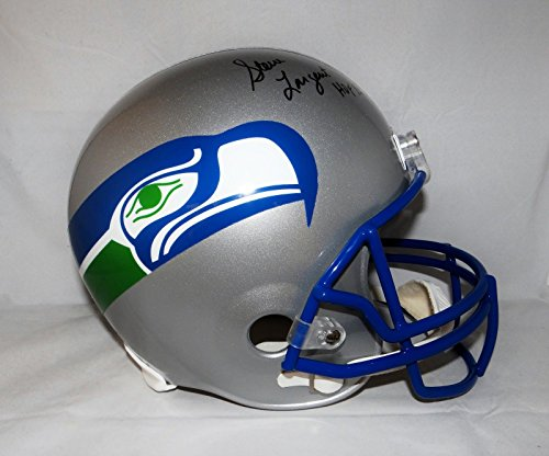Largent Signed Steve Hand (Steve Largent Autographed F/S Seattle Seahawks Helmet with HOF and JSA W Auth)