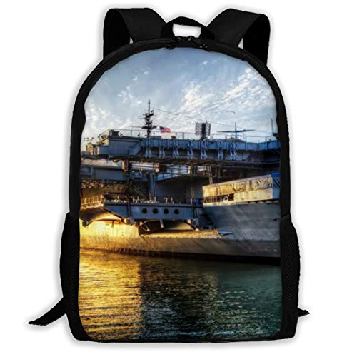 Aircraft Carriers USS Midway Sunset Seascape School Backpack Knapsack Personalized Daypack Children Travel Backpack For Adults Kids
