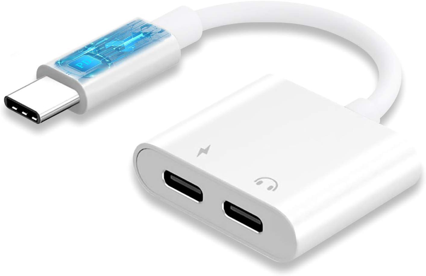 Silverfer C/âble Audio Jack 3,5 mm de Type C vers USB-C Durable pour s/éparateur Audio de t/él/éphone Portable Huawei P20 2 en 1 c/âbles de Type C Noir