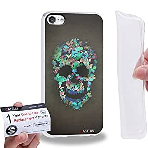 Case88 [Apple iPod Touch 6] Gel TPU Carcasa/Funda & Tarjeta de garantía - Art Blooming Skulls Cyan