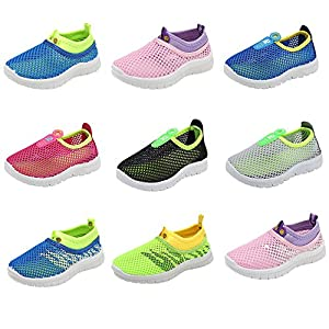 CIOR Kids Light Weight Sneakers AquaShoes Breathable Slip-on For Running Pool Beach Toddler / Little Kid,S633Pink,22