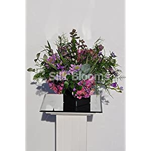 Wild Flower Floral Table Arrangement w/ Purple Scabiosa, Hydrangea and Freesia