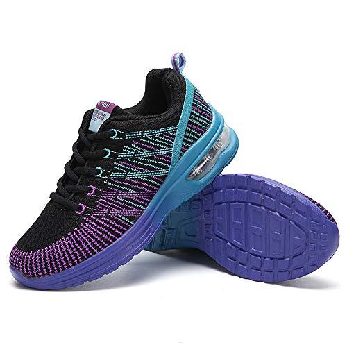 5 40 Malla De Cómodo Moda Estampado Morado Zapatos Deporte Mujer Cordones Transpirable Para 36 Rayas Sylar Fitness Zapatillas ZFw88x