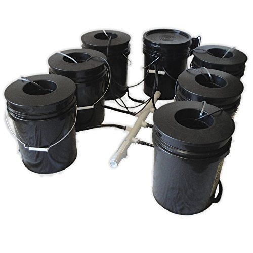 51GQQiUcQHL Hydro West AquaBuckets 5 Gallon 6 Site DWC Hydroponic System with Mixing Cell and 200 Mesh Filter
