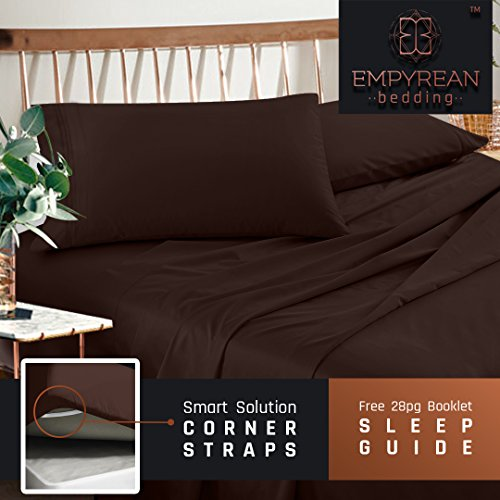ets Set - Dark Brown Chocolate Hotel Luxury 4-Piece Bed Set, Deep Pocket Special Super Fit Fitted Sheet, Best Quality Microfiber Linen Soft & Durable Design + Better Sleep Guide (Hotel Chocolate)