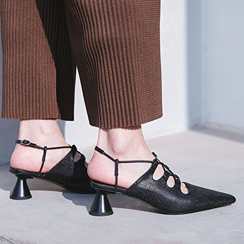 Disparo Transpirable elegante puntiaguda AJUNR 39 Zapatos Black de tacones hacia 4cm fuera nueve mujer Ahuecado Zapatillas Treinta Moda y Cabeza Sandalias BExB87q