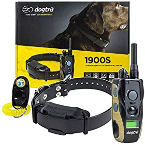 Dogtra 1900S Remote Training Collar – 3/4 Mile Range, Waterproof, Rechargeable, Shock, Vibration – includes PetsTEK Dog Training Clicker