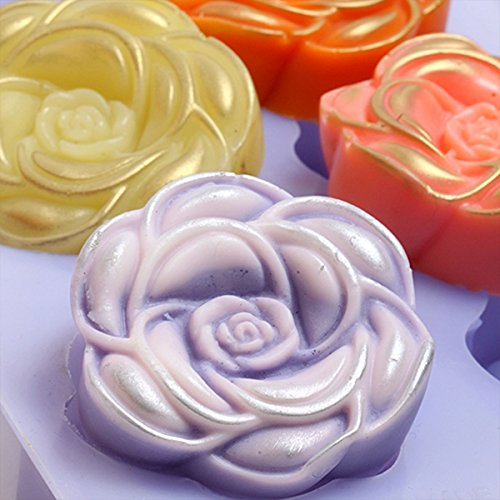 Chawoorim Silicone Soap Mold Flexible Soap Molds Silicon Loaf for Making Hand Made Soap Bar Homemade Lotion Bars Bath Bombs Camellia Flower Shape 1pcs with 6cav