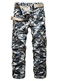 Mintsnow Mens Casual Camouflage Hunting Camo Pants with Multi Pockets Blue US 32