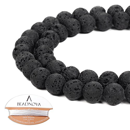 Precious Essentials Aromatherapy Soak - BEADNOVA 8mm Natural Black Lava Beads Stone Gemstone Round Loose Energy Healing Beads with Free Crystal Stretch Cord For Jewelry Making (40-42pcs)