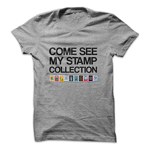 - Mad Over Shirts Come See My Stamp Collection Men's Large Grey T Shirt