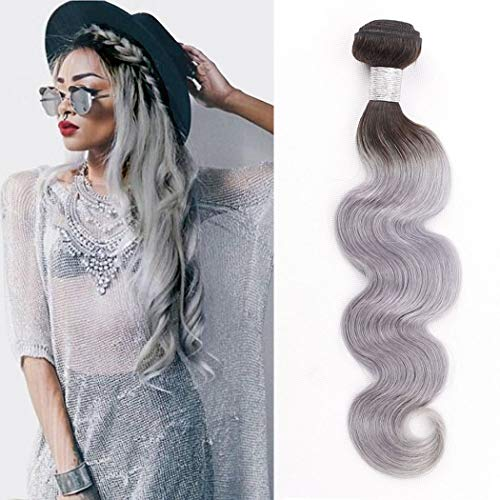 Ombre-Human-Hair-Bundles-Two-Tone-Hair-Weave-T1bGrey-Black-To-Sliver-Grey-Dark-Root-100-Brazilian-Virgin-Remy-Human-Hair-Extensions-Double-Weft-Body-Wave-Single-Bundle-100g-Colored-Hair12-Inch
