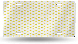dsdsgog Elegant Car Plate Yellow,Picnic Like Cute 50s 60s 70s Retro Themed Yellow Spotted White Pattern Print,Yellow and White 12x6 inches,Original Design