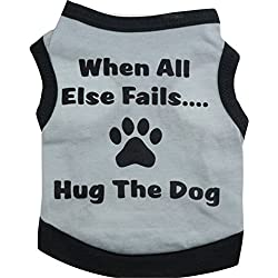 Scheppend Summer Light Grey Leisure Style Cotton Single Jersey Small Vest Pet Dog Clothes Supplies(L)