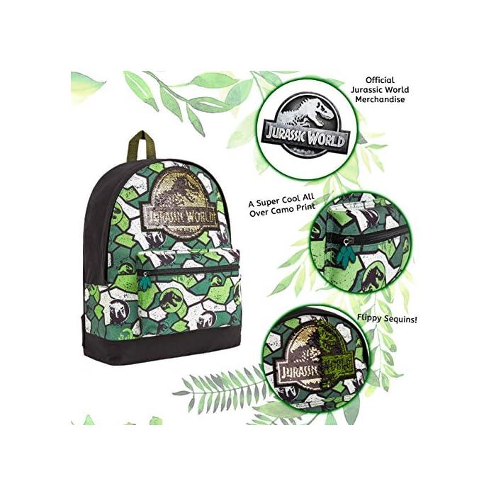 MOCHILA DE DINOSAURIOS JURASSIC WORLD --- Esta divertida mochila escolar de Jurassic Park para niños y niñas es muy cómoda y tiene mucho espacio para libros de texto, ropa o juguetes. Nuestras mochilas oficiales de Jurassic World presenta un increíble estampado de camuflaje y vienen con correas acolchadas, un bolsillo frontal con cremallera y un bolsillo lateral de malla elástica. DISEÑO ÚNICO --- Nuestra fantástica mochila escolar presenta el logotipo de Jurassic World con detalles de lentejuelas en la parte delantera y un moderno estampado de camuflaje. Ideal para cualquier amante de los dinosaurios, esta mochila es perfecta para diferentes ocasiones, tanto para ir al colegio cómo salir de excursión o de vacaciones. EDICION LIMITADA --- Mochilas escolares de Jurassic World con licencia oficial para niños, niñas y adolescentes. Estas mochilas han sido diseñadas exclusivamente para tiendas F&F Stores y no las encontrarás en ningún otro lugar. Ideales como regalo para cualquier fan de los dinosaurios.