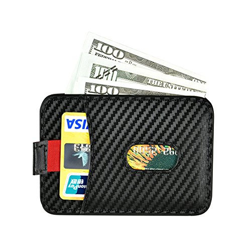 RFID Blocking Front Pocket Wallet, Genuine Leather ID Window Magnetic Money Clip Card Wallet