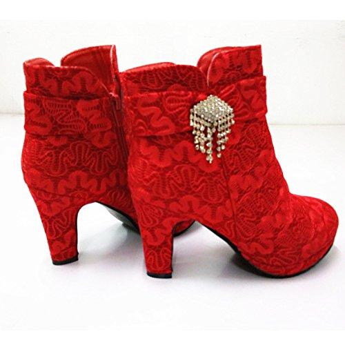 KHSKX-Zapatos De Boda Zapatos De Mujer Botas De Invierno Botas De Zapatos De Novia De La Boda Roja Zapatos Zapatos Impermeables Con Gruesos Zapatos Rojos gules