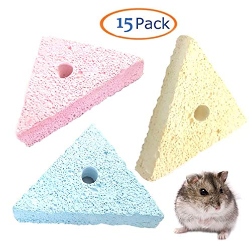 Triangle Lava Chew Pet Small Animal Hamster Chewing Toys Treats Teeth Grinding Lava Block for Birds Parrots Hamsters rabbit Bunny Chinchillas Small Animal Lava Bites Chew Treat, Colors Vary.(15 PACK).