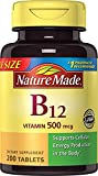 Nature Made Vitamin B12 500 mcg. Tablets Value Size 200 Ct (2 Pack)