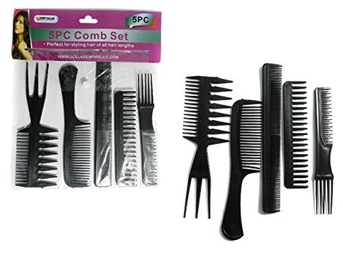 5PC Assorted Combs Set Size: 8.3''L Black , Case of 144 by DollarItemDirect