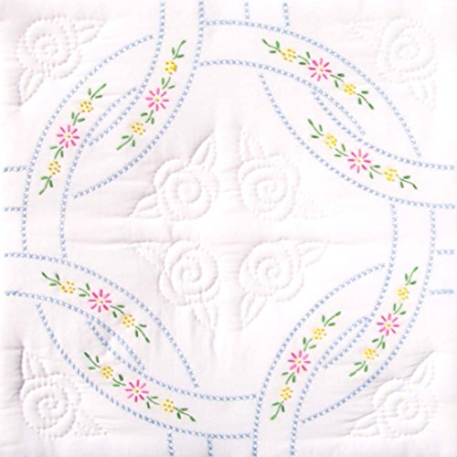 Jack Dempsey Needle Art 73220 Interlocking Wedding Rings Quilt Blocks, 6 Quilt Blocks, 18-Inch-by-18-Inch, White