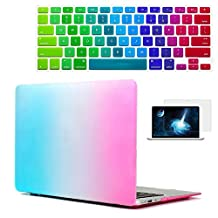 MacBook Air 11 Case, Rinbers Rainbow Pattern Hard Shell Case Print Frosted with KB Skin&Screen Protector for MacBook Air 11 Inch A1370 A1465 - Blue/Hot Pink