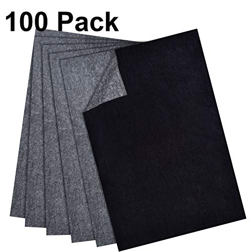 Hotop 100 Sheets Carbon Transfer Paper, Black Tracing Paper for Wood, Paper, Canvas and Other Art Surfaces (8.5 x 11 Inch) ()