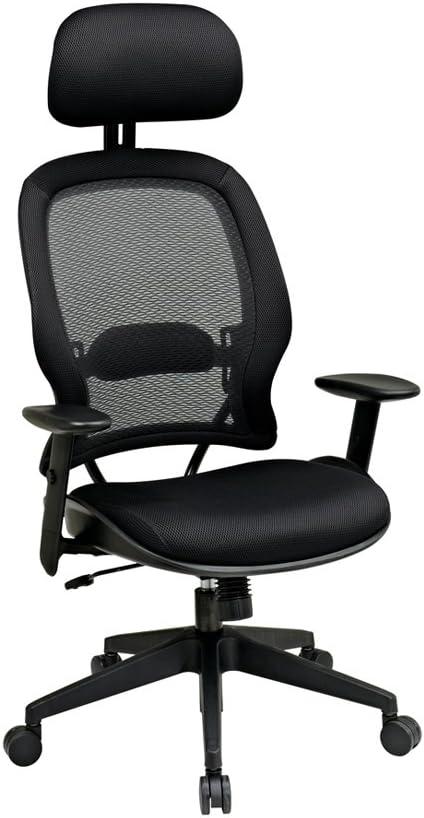 Office Star Professional Air Grid High-Back Chair with Headrest, 56 1 4 H x 27 1 2 W x 28 1 2 D, Black Frame, Black Fabric