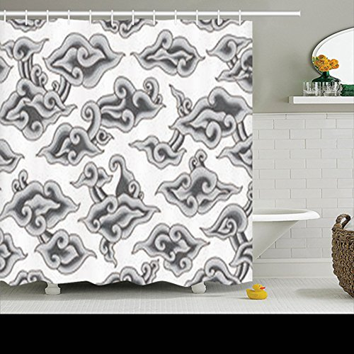 HomeCOO Design Shower Curtains Mega Mendung Batik Painting Indonesia Colored Pattern 72 By 72 Inches 100% Polyester Fabric Waterproof Mildew Resistant Bath Bathroom Curtain by HomeCOO