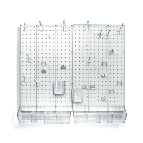 Azar 900945-CLR Pegboard Room Organizer, Clear Frosted Pegboard -