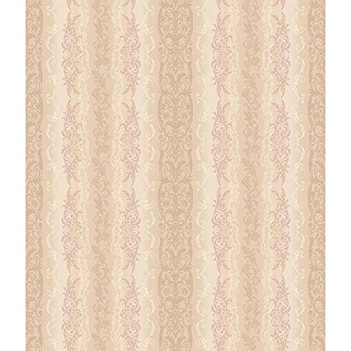 (York Wallcoverings AR7783 Charleston Damask Stripe Wallpaper, Iridescent Beige/Rose/Cream/Pearl)